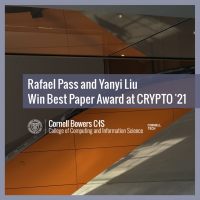 Rafael Pass and Yanyi Liu Win Best Paper Award at CRYPTO '21