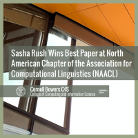 Sasha Rush Wins Best Paper at North American Chapter of the Association for Computational Linguistics (NAACL)