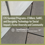CIS Summer Programs—CSMore, SoNIC, and Designing Technology for Social Impact—Foster Diversity and Community